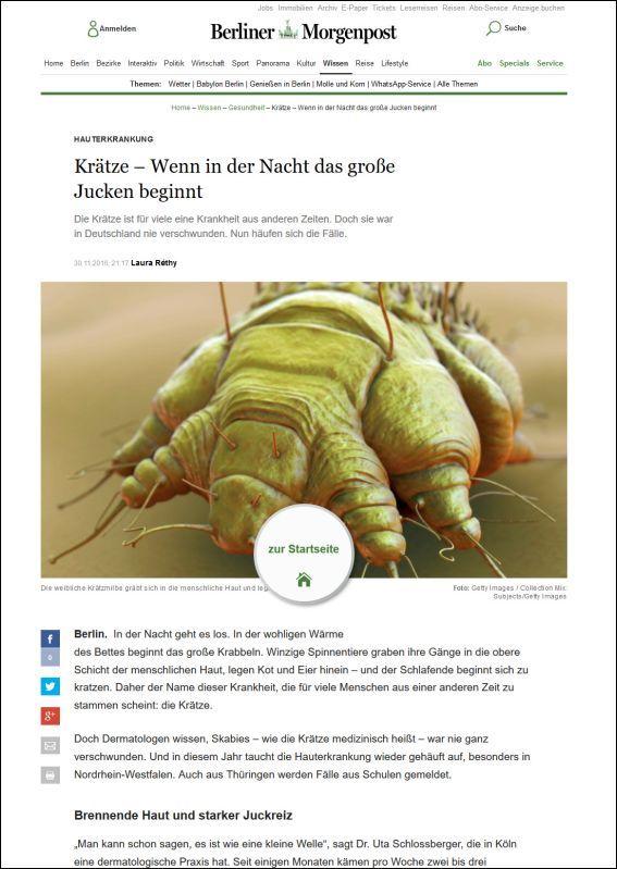 Berliner Morgenpost | Krätze – Wenn in der Nacht das große Jucken beginnt | 11.2016