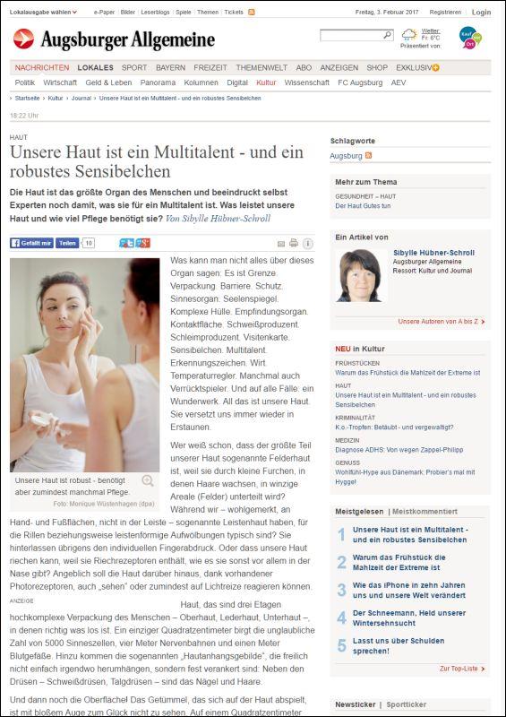 Augsburger Allgemeine | Unsere Haut ist ein Multitalent - und ein robustes Sensibelchen | 02.2017