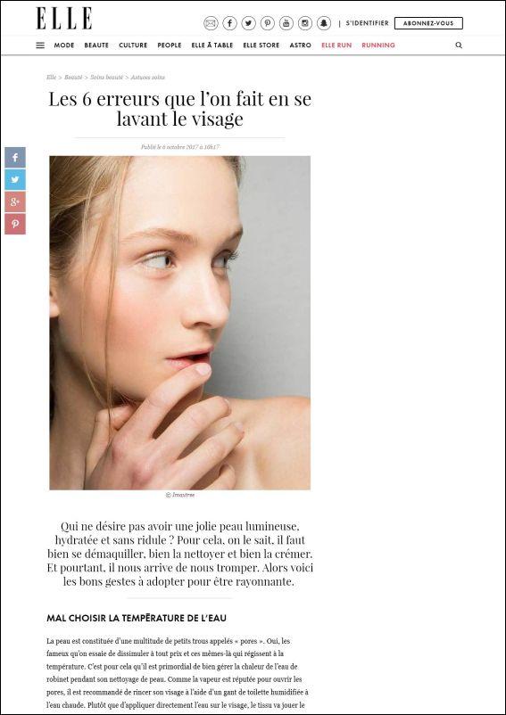 elle.fr | Les 6 erreurs que l'on fait en se lavant le visage | 06.10.2017