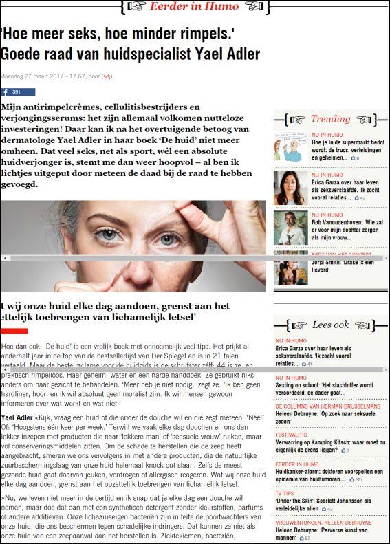 humo.be | Hoe meer seks, hoe minder rimpels. Goede raad van huidspecialist Yael Adler | 27.03.2017