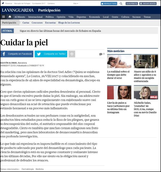 lavanguardia.com | Cuidar la piel | 30.08.2017