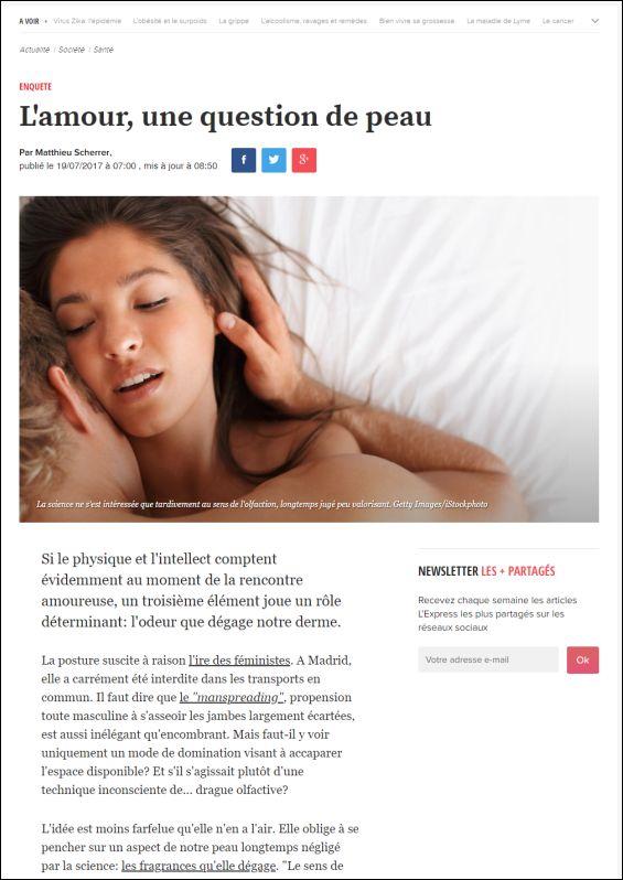 lexpress.fr | L'amour, une question de peau | 19.07.2017