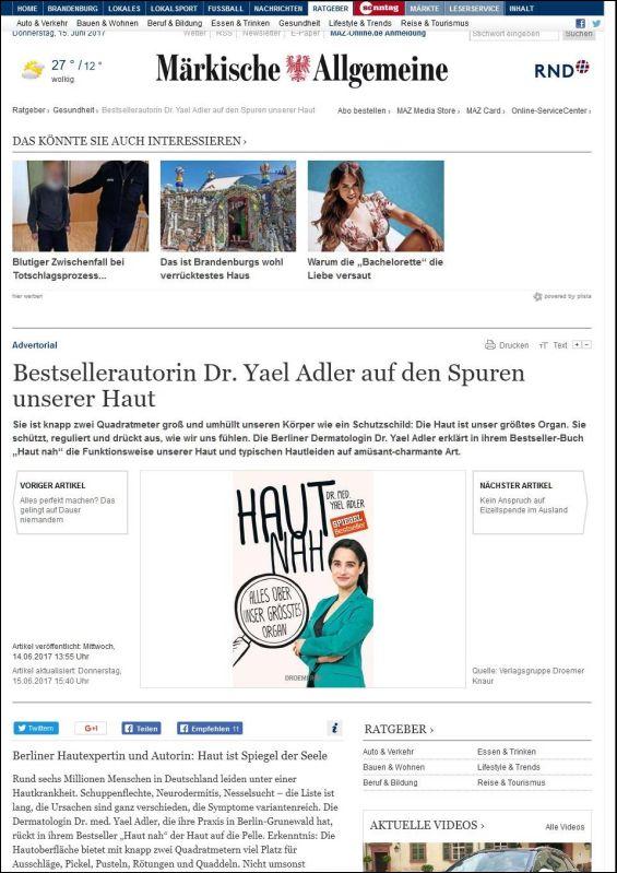 Märkische Allgemeine | Bestsellerautorin Dr. Yael Adler auf den Spuren unserer Haut | 15.08.2017