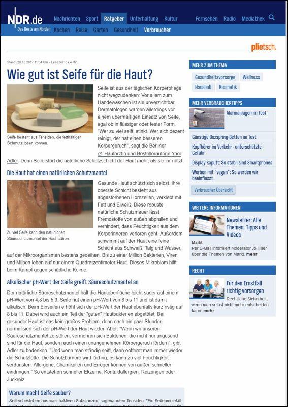 ndr.de | Wie gut ist Seife für die Haut? | 26.10.2017