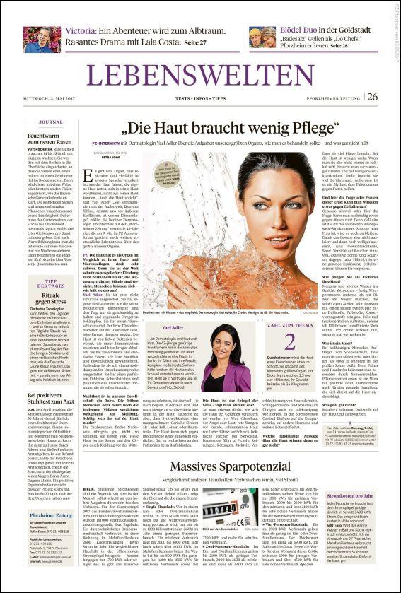 Pforzheimer Zeitung | Interview Dr. Yael Adler: Die Haut braucht wenig Pflege (PDF)