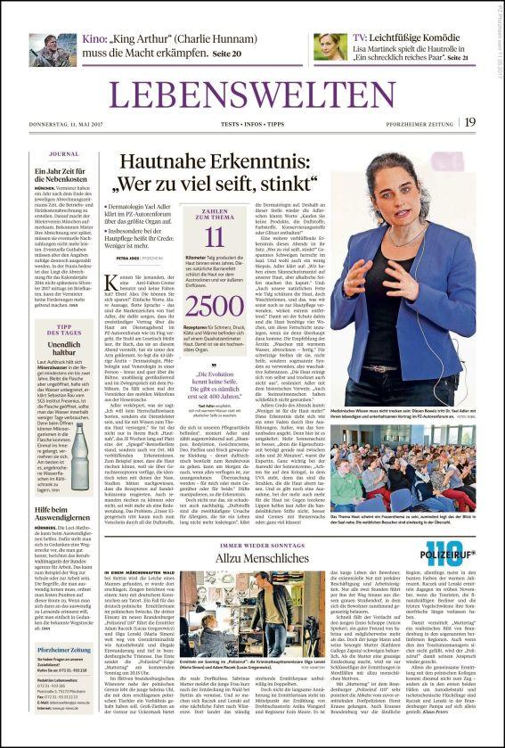Pforzheimer Zeitung | Hautnahe Erkenntnis: Wer zu viel seift, stinkt (PDF)
