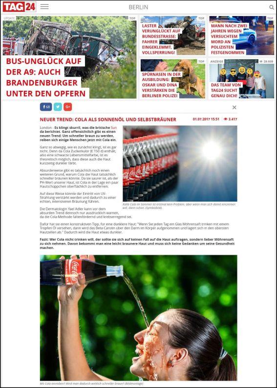 tag24.de | Trend: Um schneller braun zu werden, reiben sich einige Menschen mit Cola ein | 01.07.2017