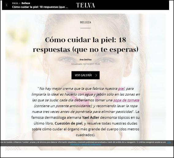 telva.com | Cómo cuidar la piel: 18 respuestas (que no te esperas) | 02.10.2017