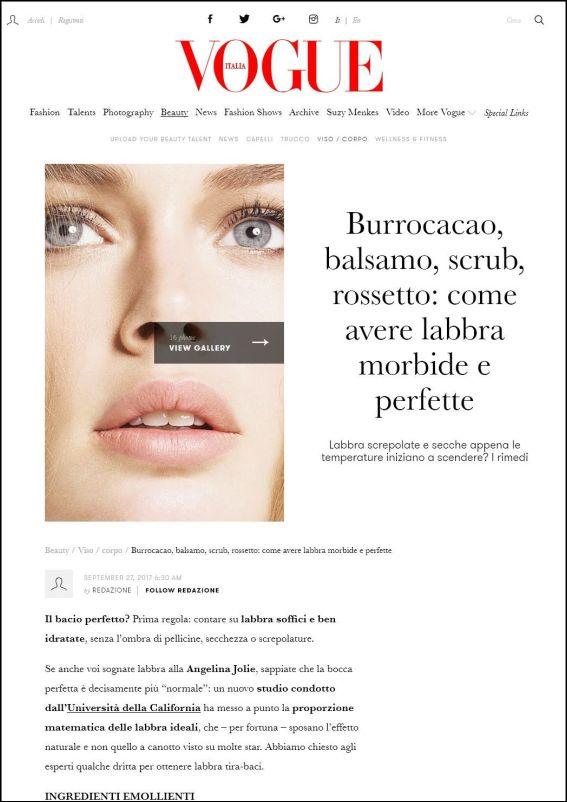 vogue.it | Burrocacao, balsamo, scrub, rossetto: come avere labbra morbide e perfette | 27.09.2017