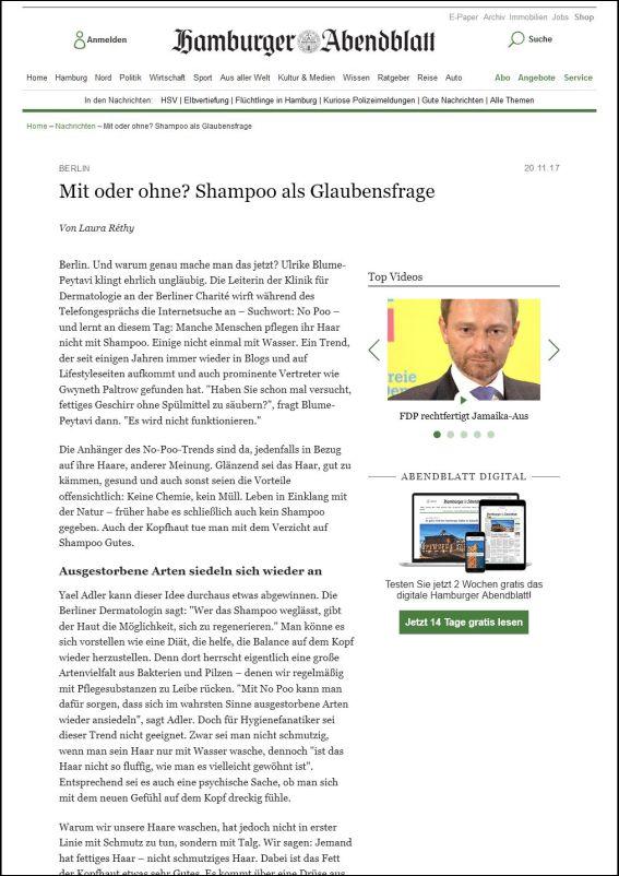 abendblatt.de | Mit oder ohne? Shampoo als Glaubensfrage | 20.11.2017