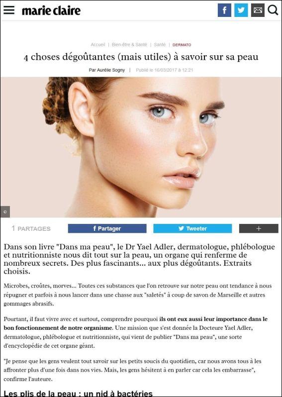 marieclaire.fr: 4 choses dégoûtantes (mais utiles) à savoir sur sa peau | 16.03.2017