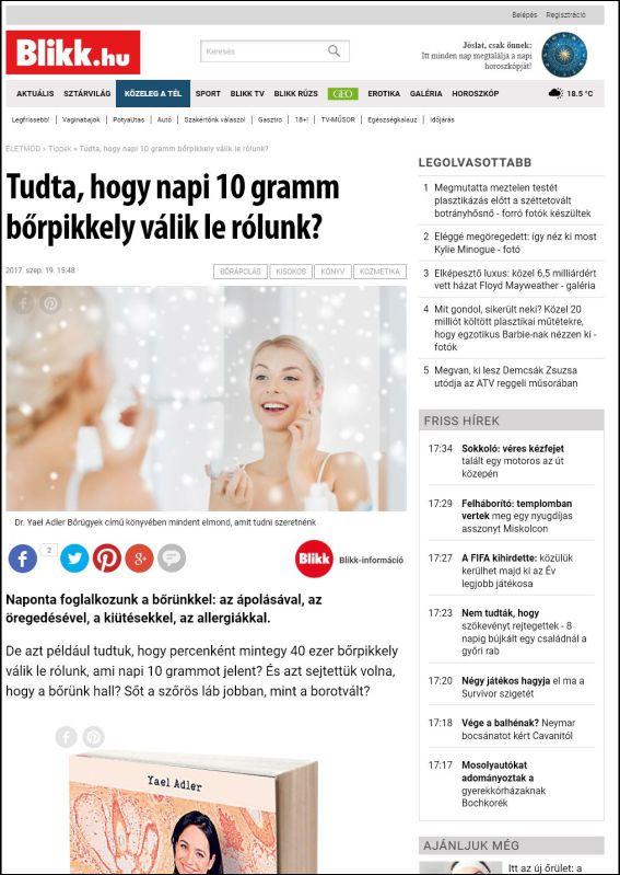 blikk.hu | Tudta, hogy napi 10 gramm borpikkely válik le rólunk? | 19.09.2017