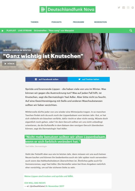 deutschlandfunknova.de | Spröde Lippen im Winter: Ganz wichtig ist Knutschen | 09.12.2017