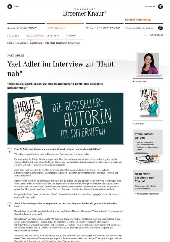 Droemer Knaur | Die Leselounge: Yael Adler im Interview zu Haut nah | 01.2017