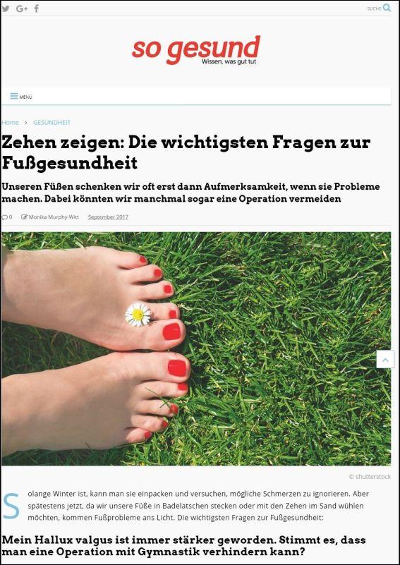 so-gesund.com | Zehen zeigen: Die wichtigsten Fragen zur Fußgesundheit | 09.2017