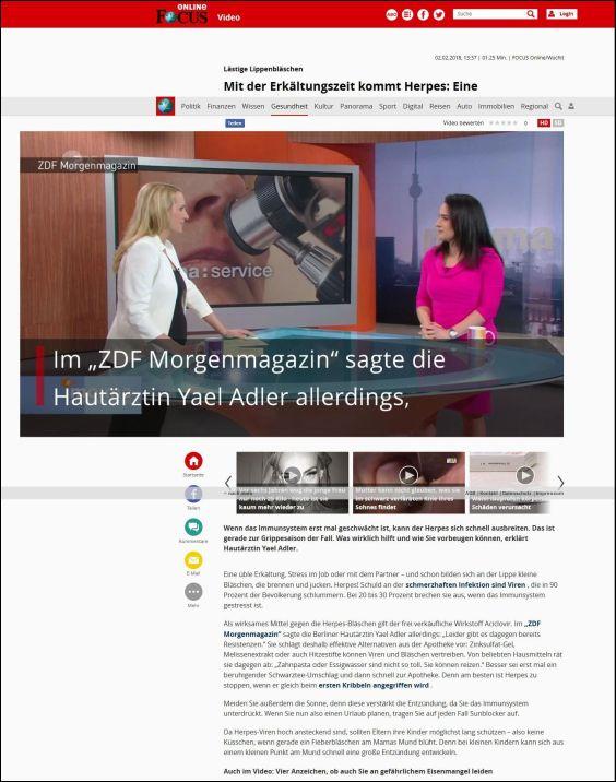 focus.de | Mit der Erkältungszeit kommt Herpes: Eine Hautärztin erklärt, was wirklich hilft | 02.02.2018
