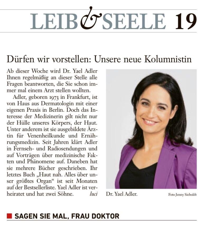 Vorstellung der neuen Kolumnistin der FAZ: Sagen Sie mal, Frau Doktor ... Kolumnen in der Frankfurter Allgemeine Sonntagszeitung ab 2017