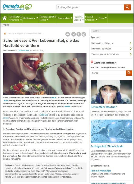 onmeda.de | Schöner essen: Vier Lebensmittel, die das Hautbild verändern | 05.02.2018