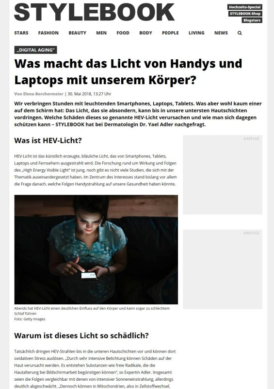 stylebook.de | Was macht das Licht von Handys und Laptops mit unserem Körper? | 30.05.2018