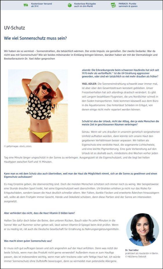 dm.de | Wie viel Sonnenschutz muss sein? | 01.08.2018