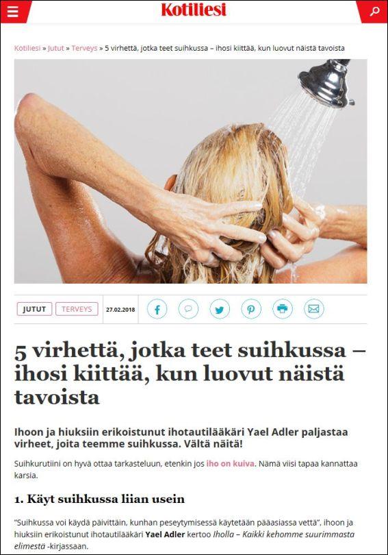 kotiliesi.fi | 5 virhettä, jotka teet suihkussa – ihosi kiittää, kun luovut näistä tavoista | 27.02.2018