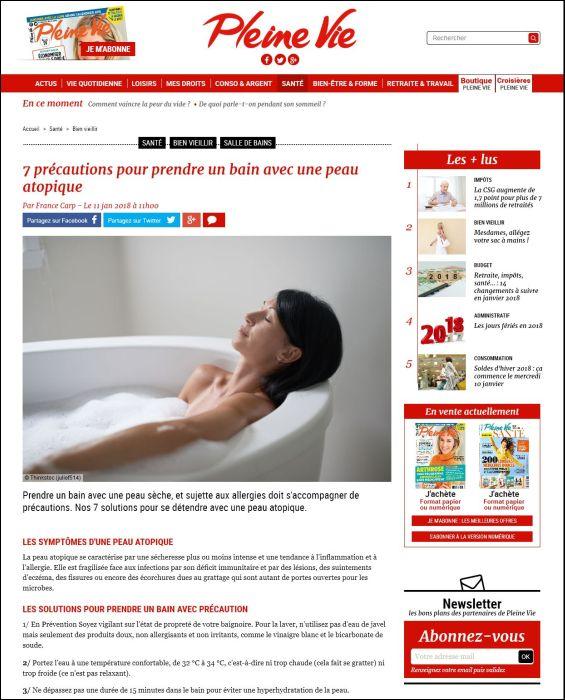 pleinevie.fr | 7 précautions pour prendre un bain avec une peau atopique | 11.01.2018