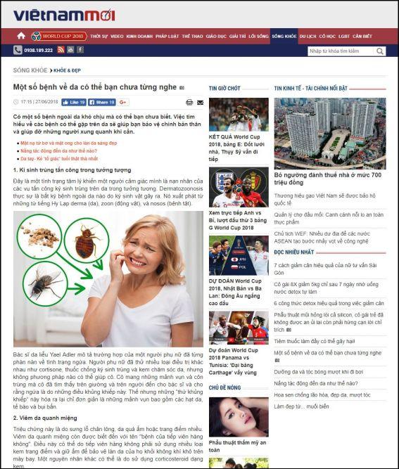 vietnammoi.vn | Một số bệnh về da có thể bạn chưa từng nghe | 27.06.2018