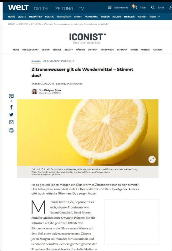 welt.de | Zitronenwasser gilt als Wundermittel – Stimmt das? | 07.08.2018