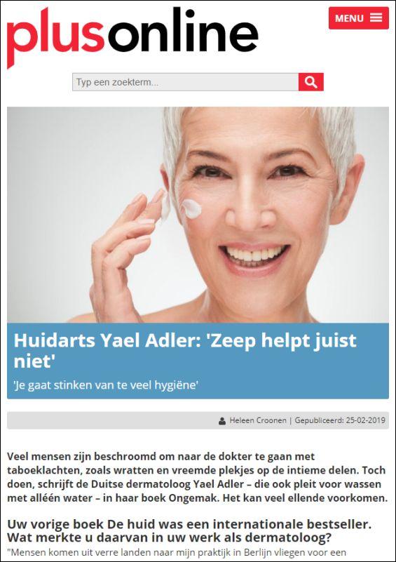 Huidarts Yael Adler: Zeep helpt juist niet