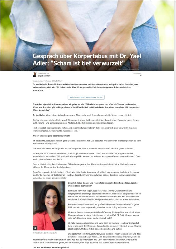 Gespräch über Körpertabus mit Dr. Yael Adler: Scham ist tief verwurzelt