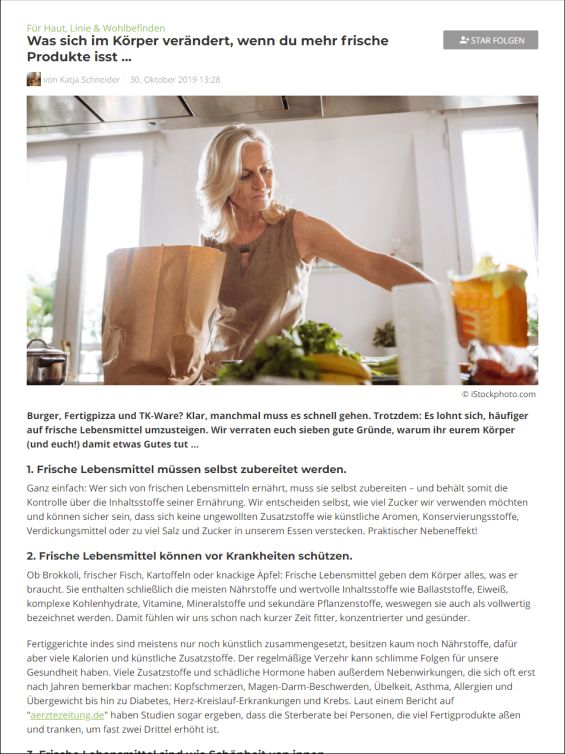 Was sich im Körper verändert, wenn du mehr frische Produkte isst ...