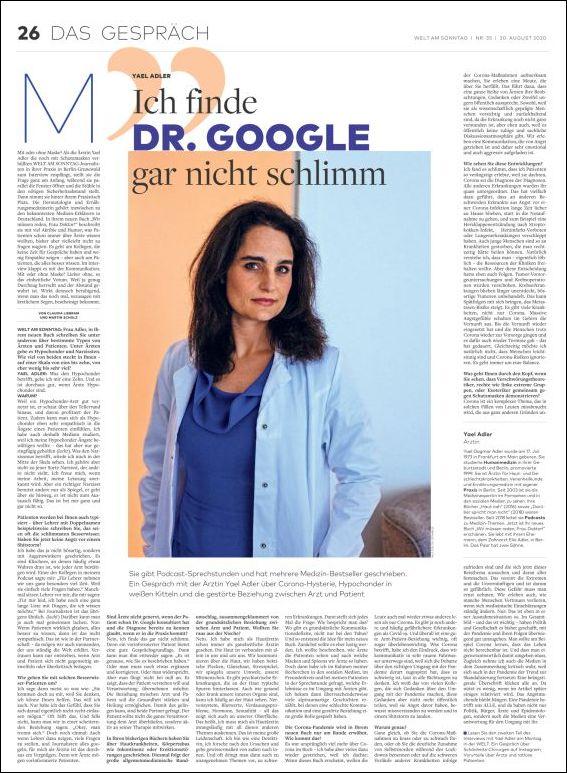 Dr. Yael Adler: Ich finde Dr. Google gar nicht schlimm