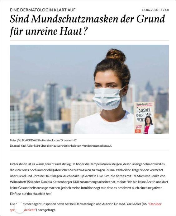 Mundschutzmasken: Sind sie die Ursache für mehr Pickel?