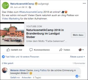 NaturkosmetikCamp 2018 in Brandenburg im Landgut Stober   ab Minute 3:38   22. - 24. Juni 2018