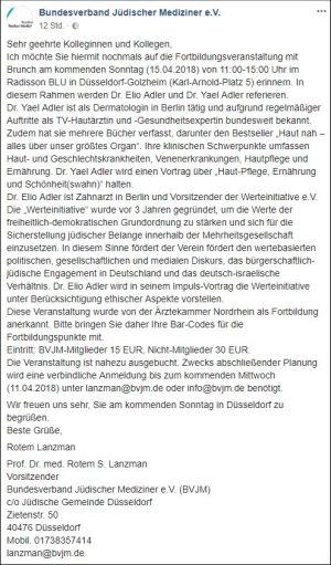 """Bundesverband Jüdischer Mediziner e.V.   Fortbildungsveranstaltung   Vortrag über """"Haut-Pflege, Ernährung und Schönheit(swahn)""""   15.04.2018"""